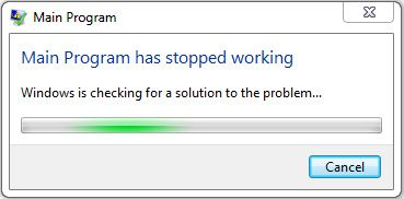 Main Program, Windows is checking for a solution to the problem