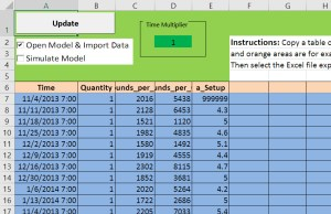 Attributes Define Process Flow input sheet before modification.