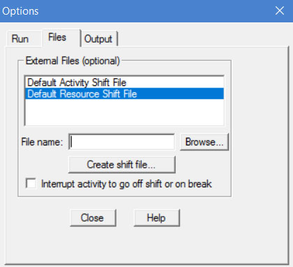 Define a default shift file