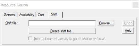 Properties dialog resource shift ProcessModel software