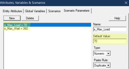 define scenario para values in load truck