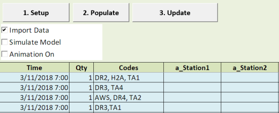 excel scheduled arrivals with Table Input