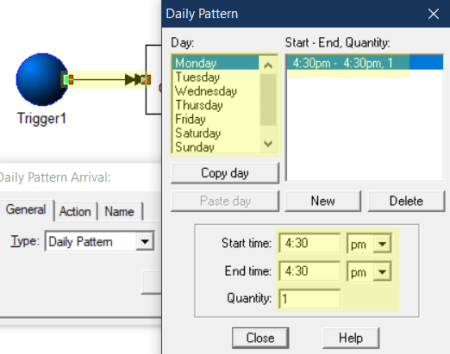 setting trigger arrivals in Hold in a Storage