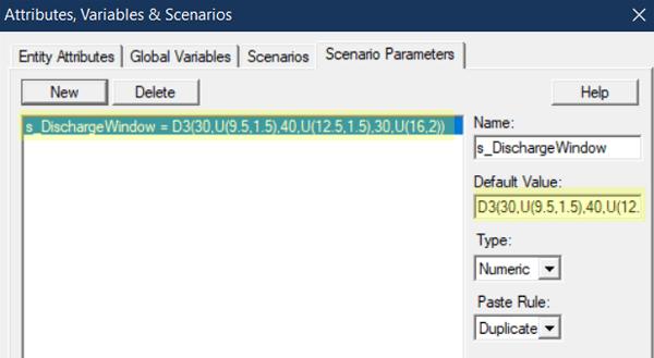 change scenario parameter in Discharge Windows