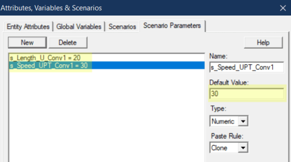define scenario parameters in High Volume Conveyor Section