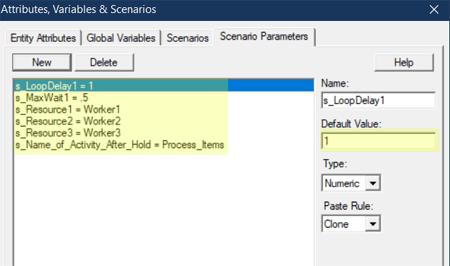 define scenario parameters in Renege After Waiting Too Long