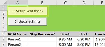 setup workbook in Shift Scheduler