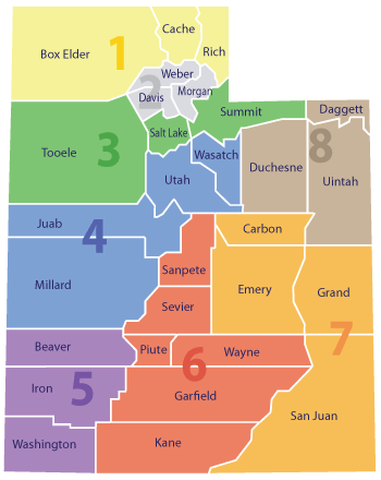 Utah counties and court districts map