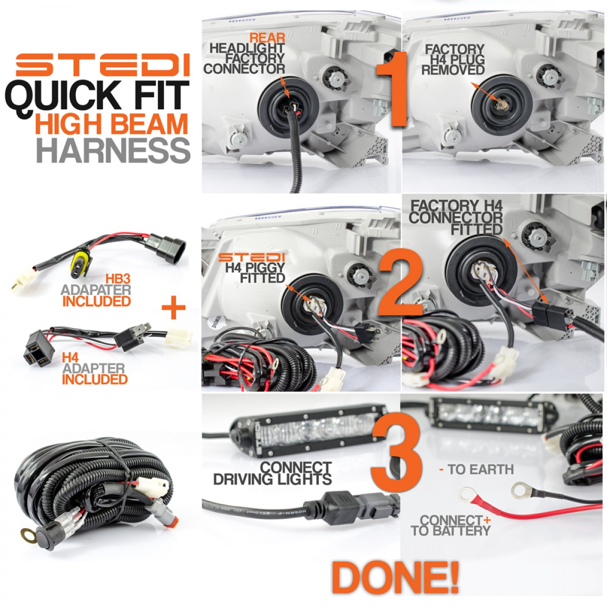hight resolution of dual connector dtp quick fit high beam wiring harness high current