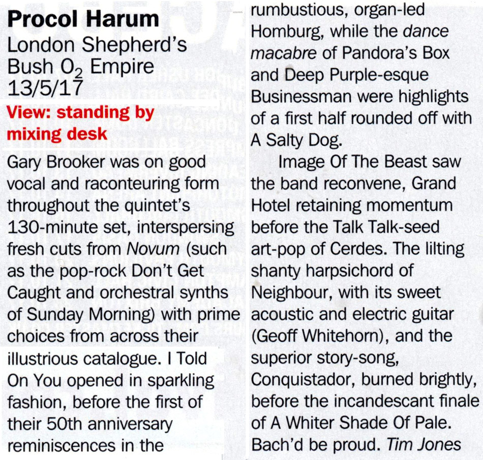 Procol Harum at the Shepherds Bush Empire reviewed in