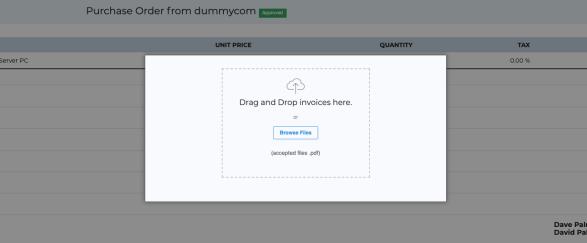 Invoice uploading dropzone