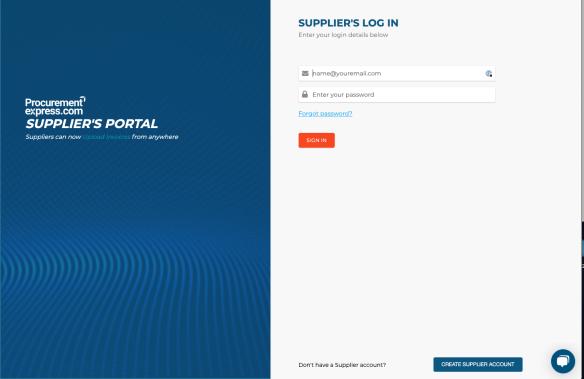 Supplier portal login screen
