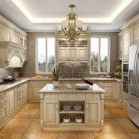 Antique White kitchen cabinet Designs Cherry Solid Wood ...