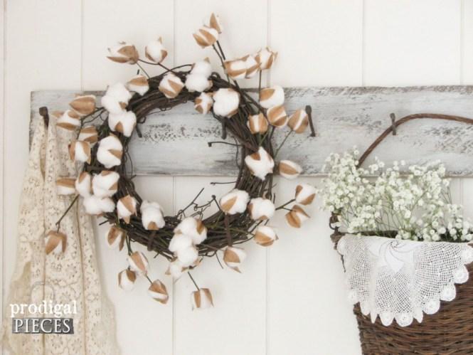 Rustic Farmhouse Wreath With Diy Cotton Stems By Prodigal Pieces Prodigalpieces Com