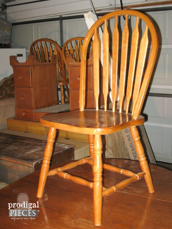 diy painted windsor chairs xbox gamer chair farmhouse table makeover with homeright sprayer prodigal pieces outdated 1980 s dining set gets by www prodigalpieces com