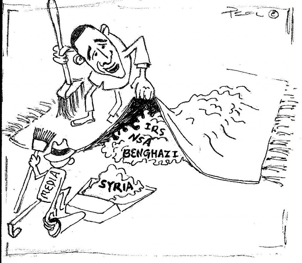 cartoon: Obama Sweeping Syria Debacle Under the Rug