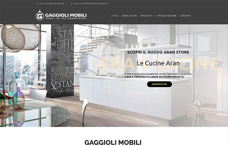 restyling sito web Angelo Gaggioli centro Aran Store Roma
