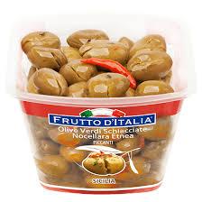 olive verdi Nocellara Etnea, schiacciate e condite alla siciliana