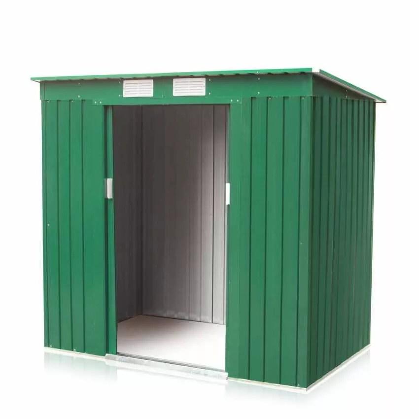 Casetta Box in Lamiera Zincata Verde per Attrezzi Ripostiglio da Giardino
