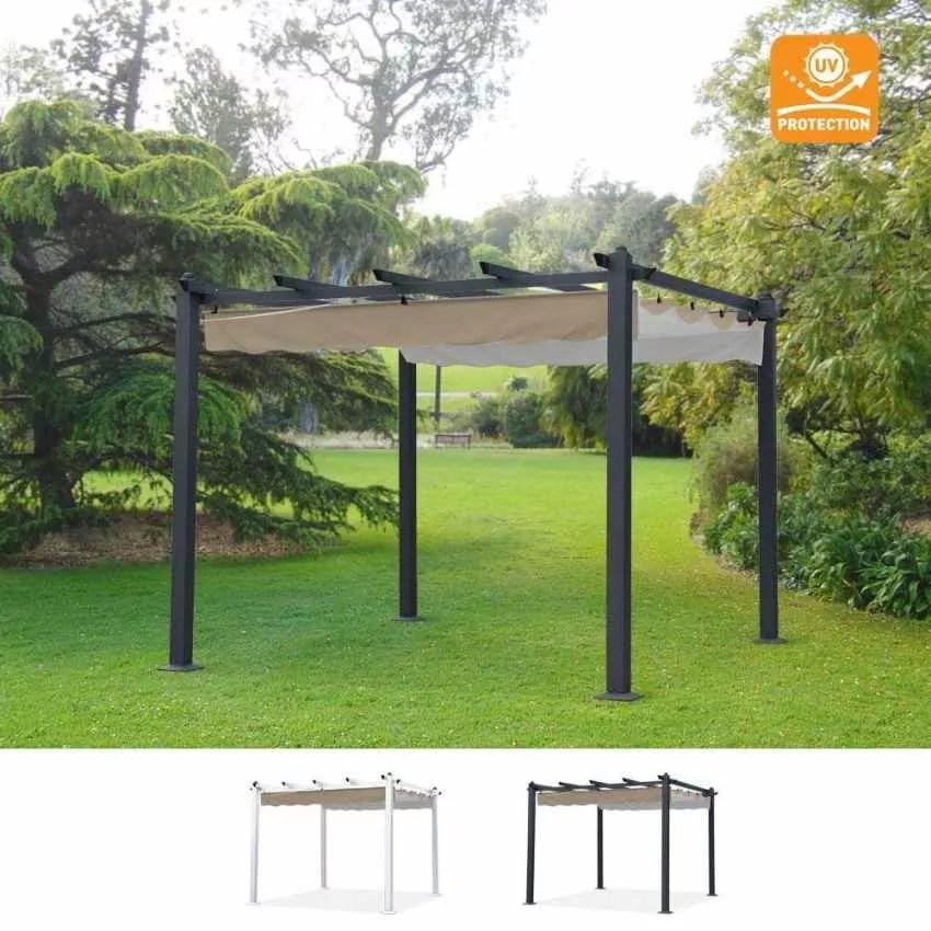 Gazebo Quadrato 3x3 con Protezione UV in Alluminio per Bar Giardino Ristoranti FIRENZE