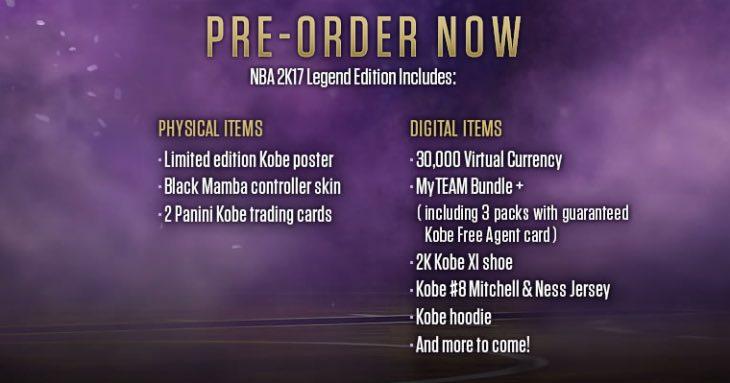NBA 2K17 Legend Edition Pre Order Live For US UK