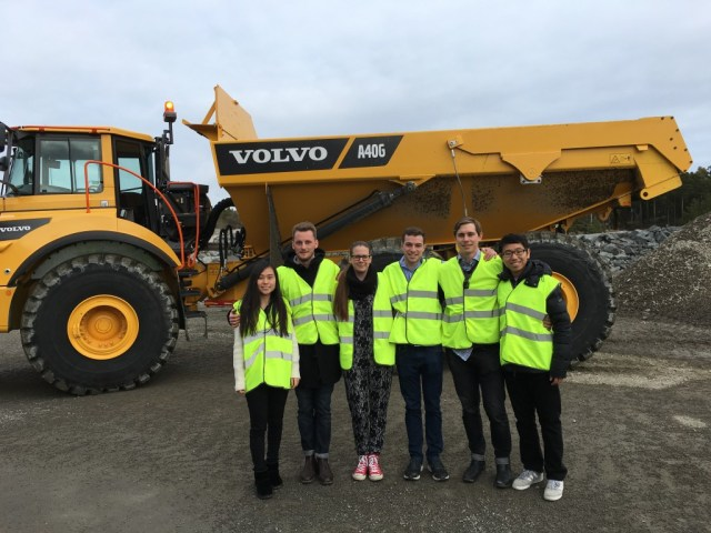 ME310 students at the Volvo CE test site in Eskilstuna.