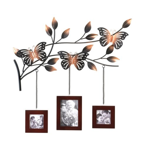 Metal Butterfly Tree Branch 3 Picture Photo Frame Wall Art
