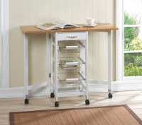 KITCHEN TROLLEY EXTENDED TABLE EXTRA WORK STATION 3 WIRE