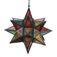 Moroccan Style Glass Star Hanging Lantern Candle Lamp