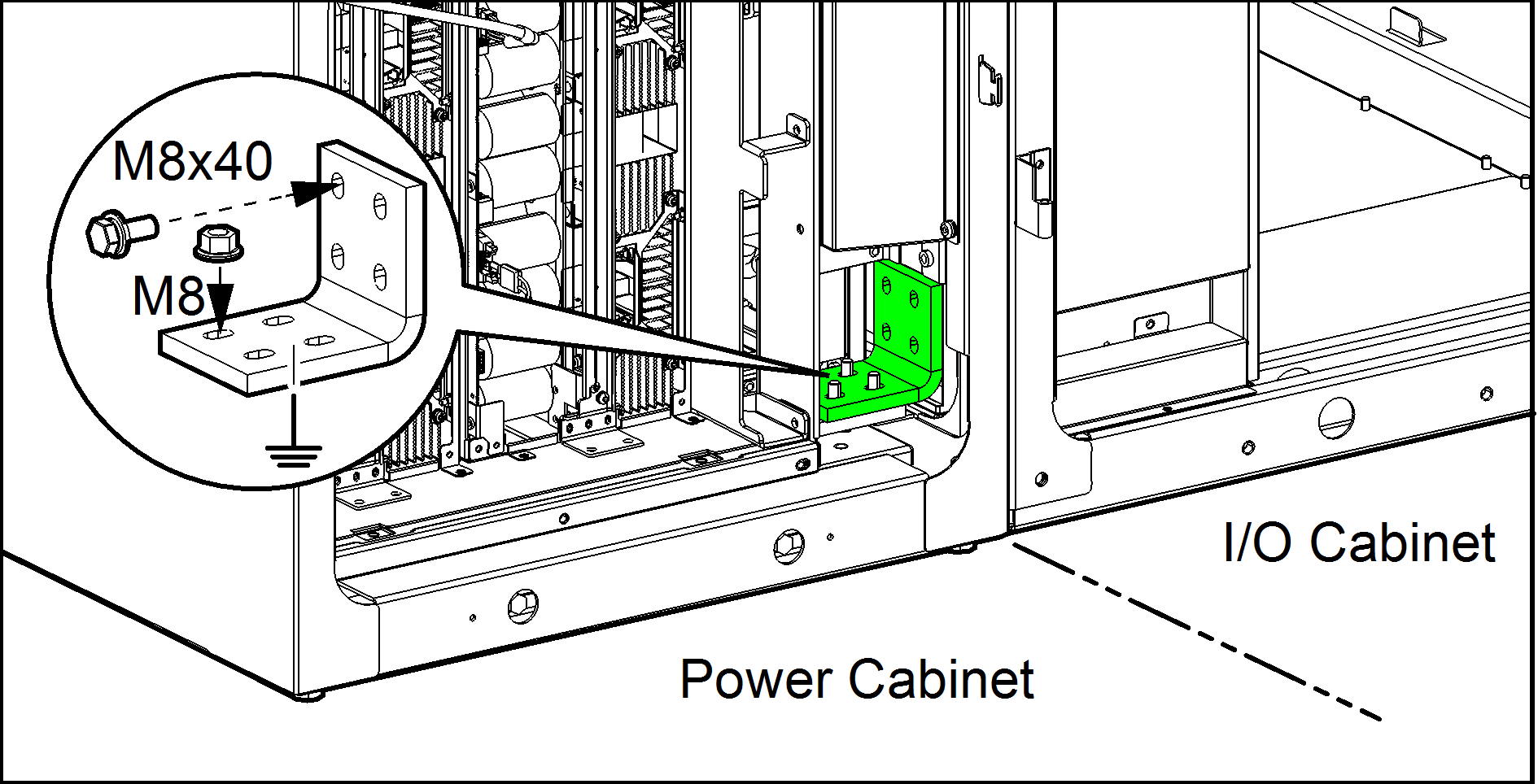Install the Busbars between the I/O Cabinet and the Power