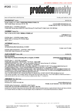Production Weekly – Issue 1243 – Thursday, April 22, 2021 / 183 Listings – 39 Pages