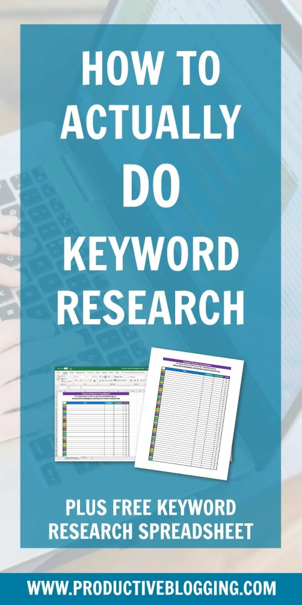 Have you read a lot about keyword research, but still struggle with how to actually DO it? Then this post is for you! I take you step by step through how to do keyword research for your blog, plus provide you with the perfect tool to make keyword research simple – my FREE Keyword Research Spreadsheet! This easy to use spreadsheet calculates which of your post ideas are likely to perform best on your blog. #SEO #SEOtips #searchengineoptimization #keywordresearch #yoast #productiveblogging