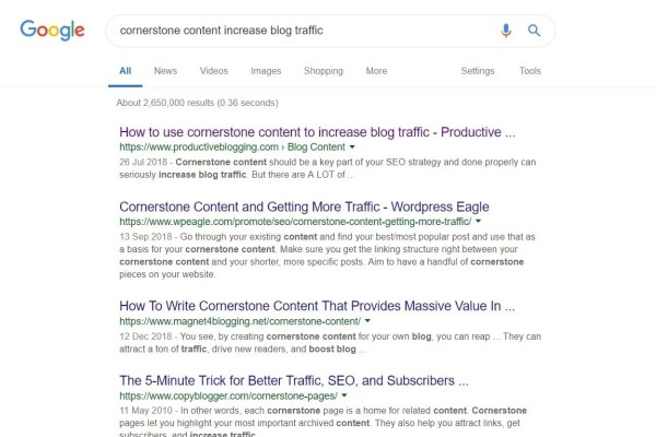 Example of breadcrumbs in Google search results page