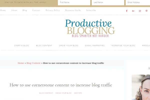 Example of breadcrumbs on Productive Blogging