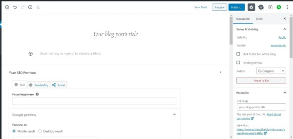 How to add a title to a new WordPress blog post in the block editor