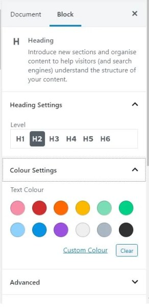 How to change the colour of a heading in a blog post using the WordPress block editor