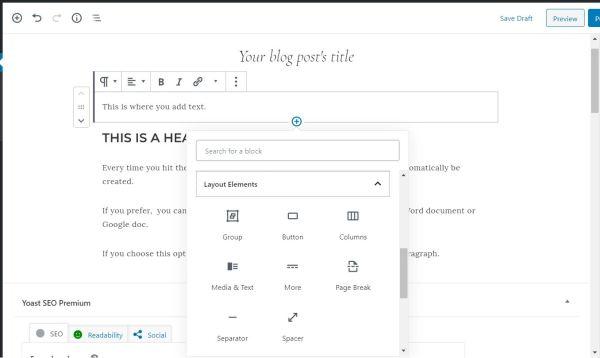 How to add white space in a blog post using the WordPress block editor