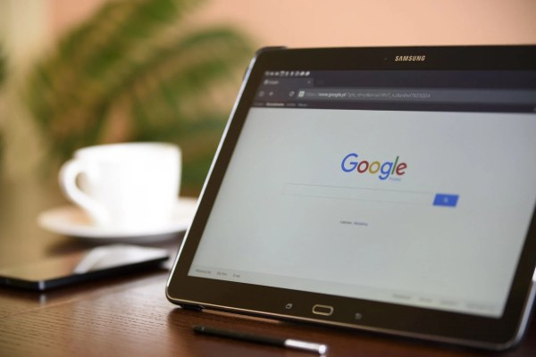 Tablet screen showing the Google search page.