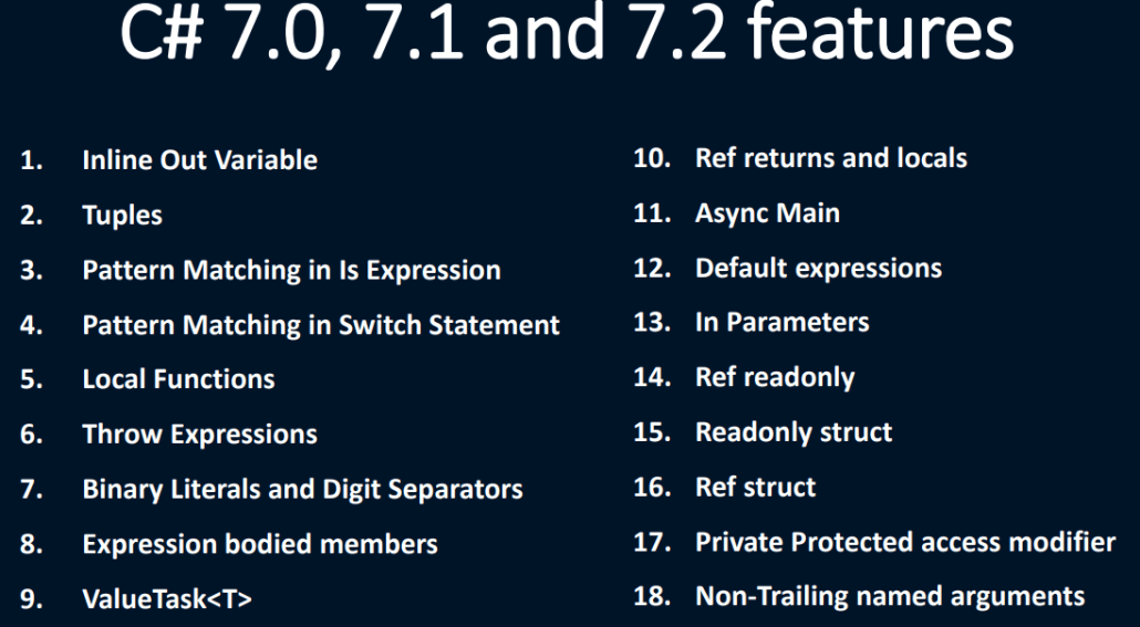 C# 7.X features