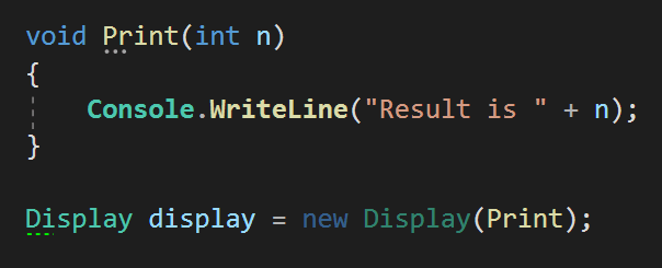 Create C# delegate instance explicitely