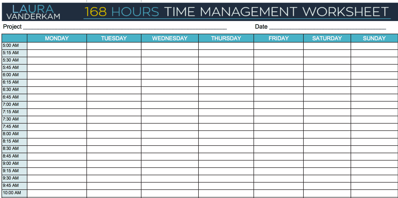 24 Hour Time Management Worksheet