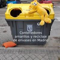 Contenedor amarillo para residuos de envases en Madrid