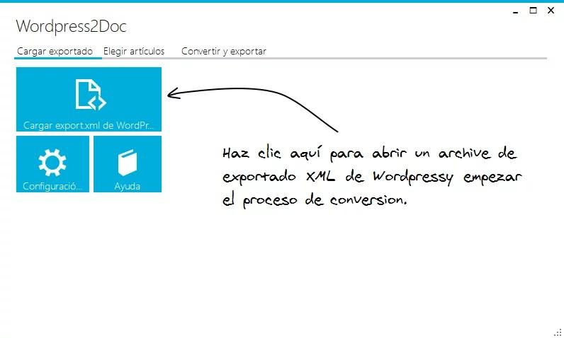 pantallazo de la aplicación wordpress2doc