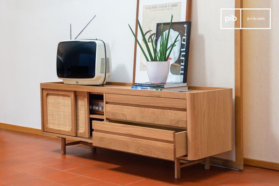 meuble tv en chene clair aarne