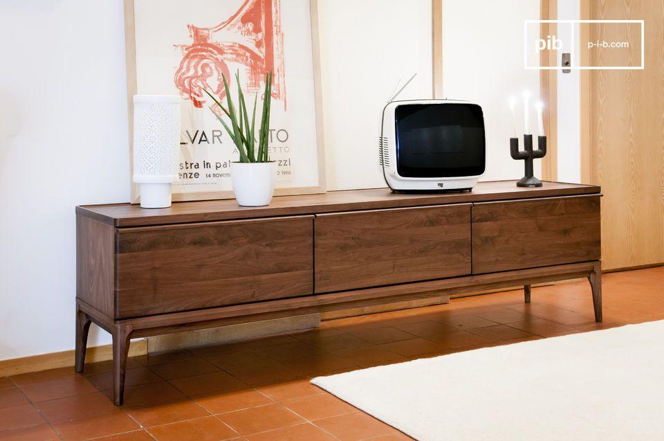 Meuble TV en noyer Hemt grand format tiroirs coulissant