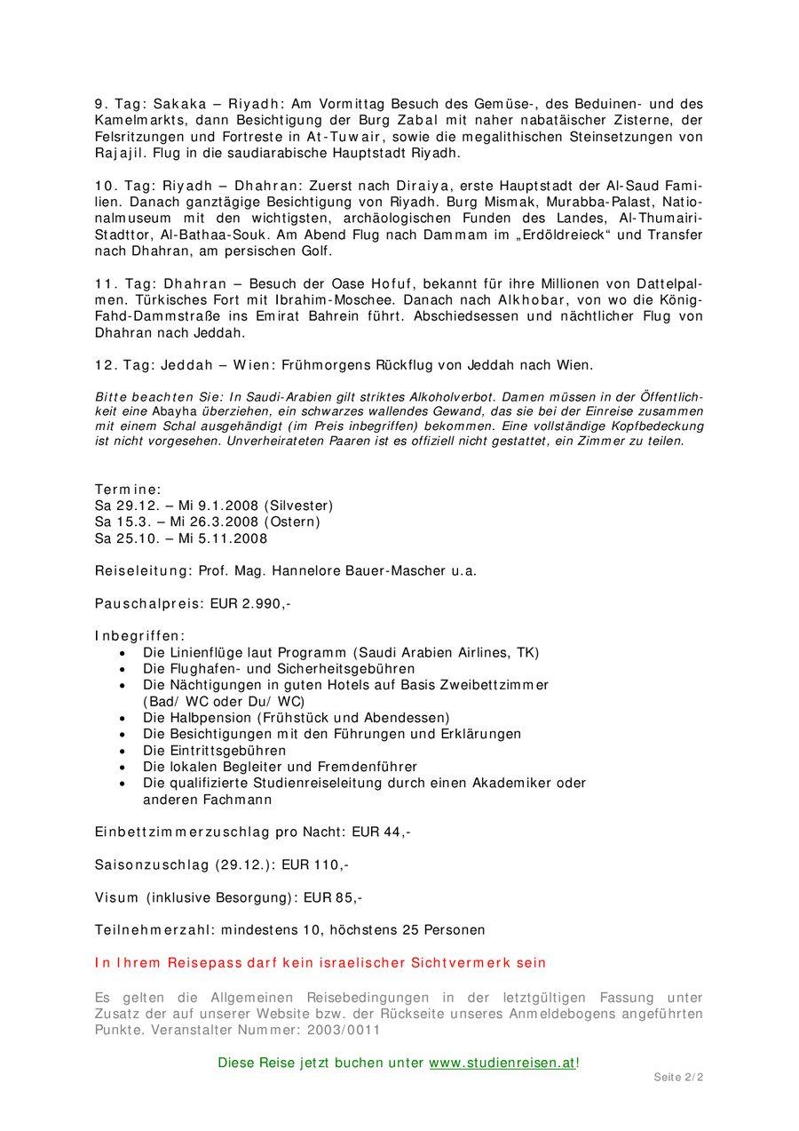 Königreich Saudi-Arabien Von Akademischer Reisedienst Österreich
