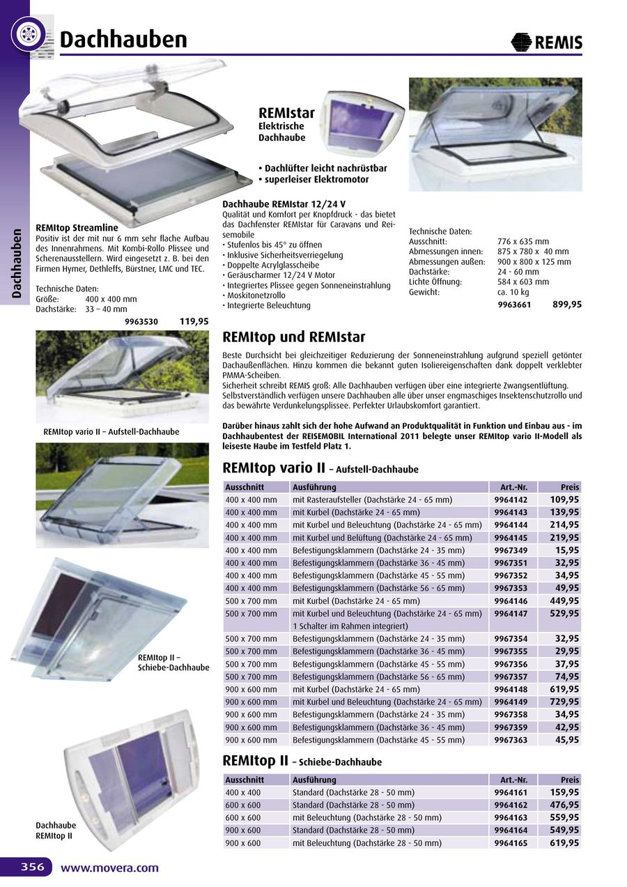 Seite 358 Von Movera Zubehörkatalog 2014 (Deutsche Version)