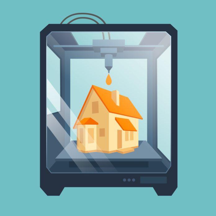 ilustracao de uma impressora criando uma casa com a transformacao digital na impressao 3d