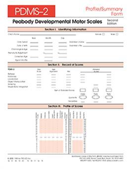 Peabody Developmental Motor Scales Examiner S Manual