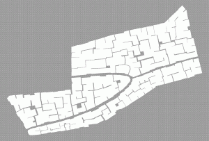 Rough outline of the block that we will fill in, showing major alleys and form